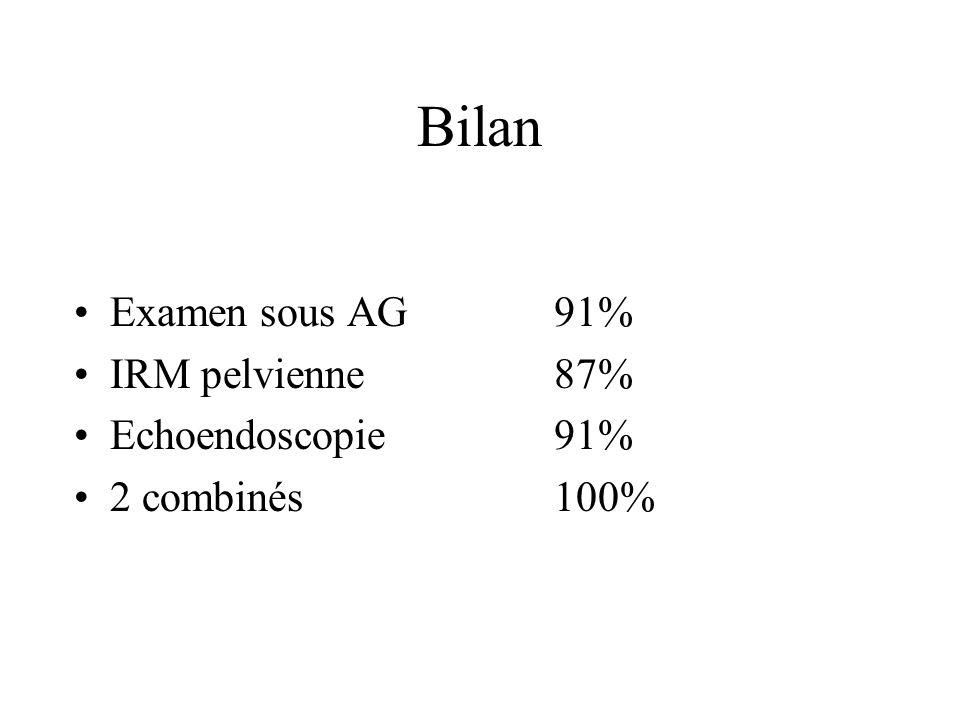 Bilan Examen sous AG91% IRM pelvienne87% Echoendoscopie91% 2 combinés100%