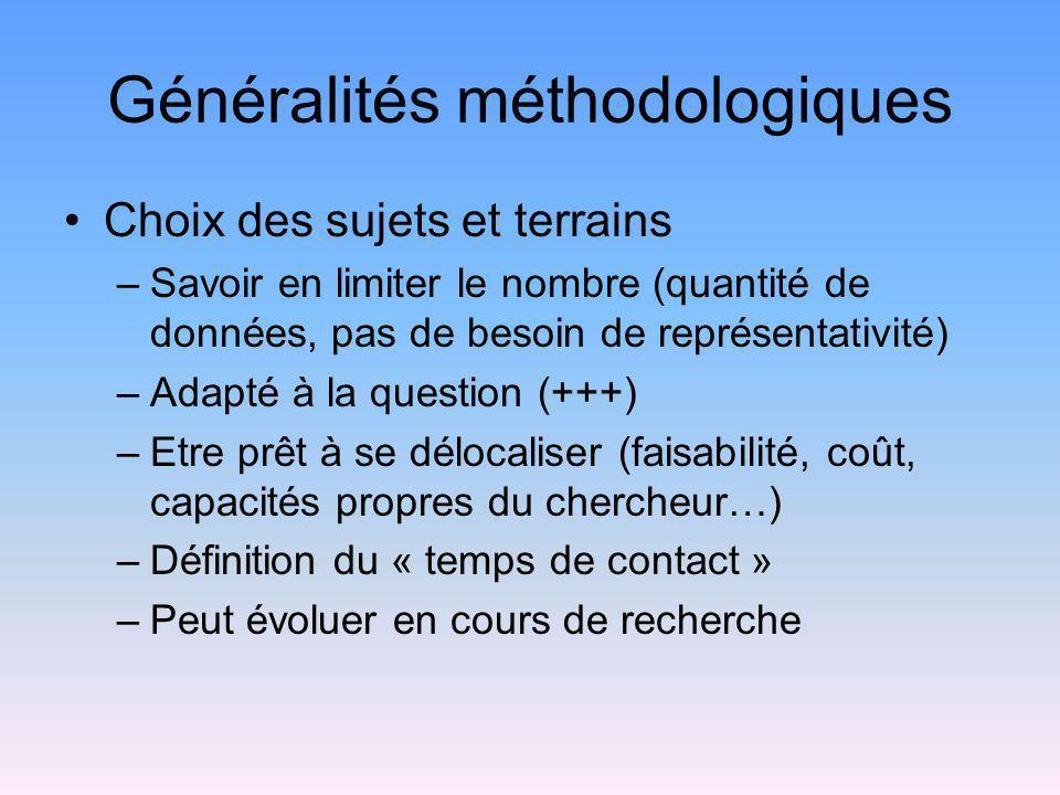 Généralités méthodologiques Choix des sujets et terrains –Savoir en limiter le nombre (quantité de données, pas de besoin de représentativité) –Adapté
