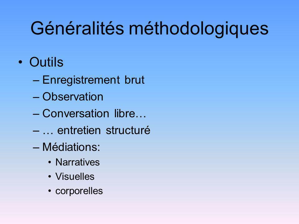 Généralités méthodologiques Outils –Enregistrement brut –Observation –Conversation libre… –… entretien structuré –Médiations: Narratives Visuelles cor