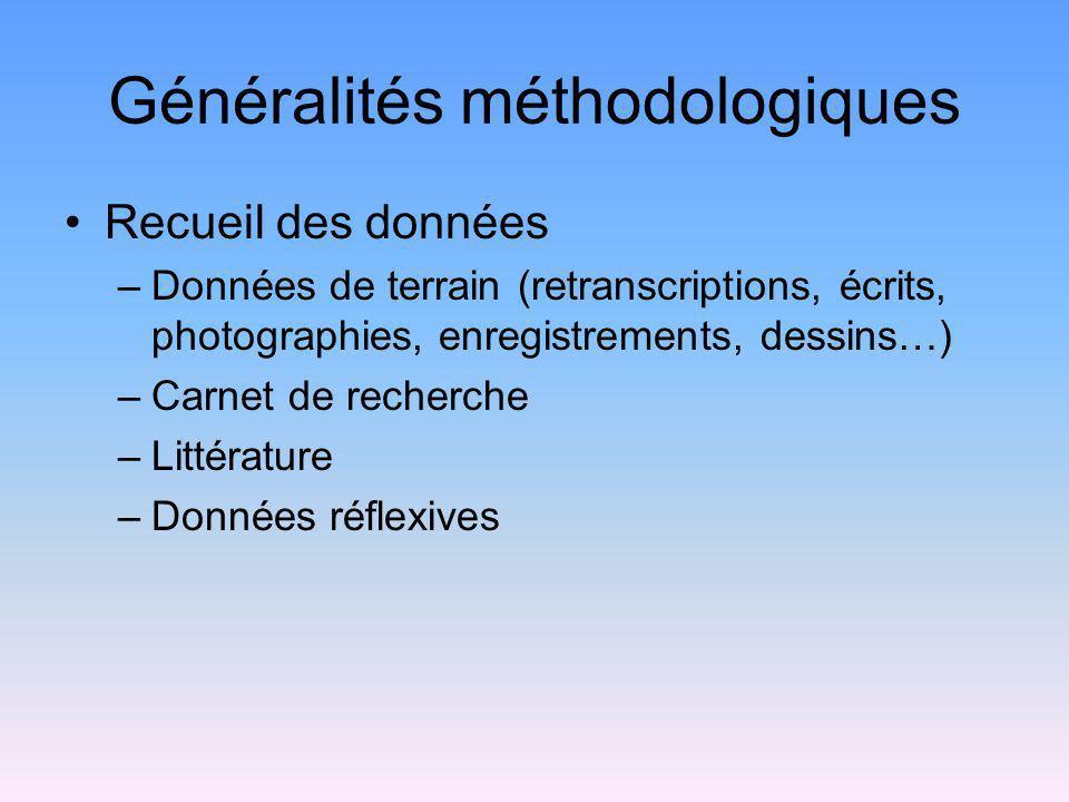 Généralités méthodologiques Recueil des données –Données de terrain (retranscriptions, écrits, photographies, enregistrements, dessins…) –Carnet de re
