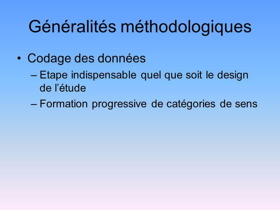 Généralités méthodologiques Codage des données –Etape indispensable quel que soit le design de létude –Formation progressive de catégories de sens