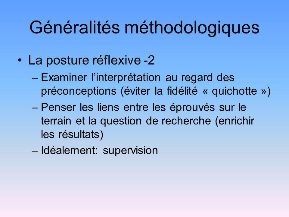 Généralités méthodologiques La posture réflexive -2 –Examiner linterprétation au regard des préconceptions (éviter la fidélité « quichotte ») –Penser