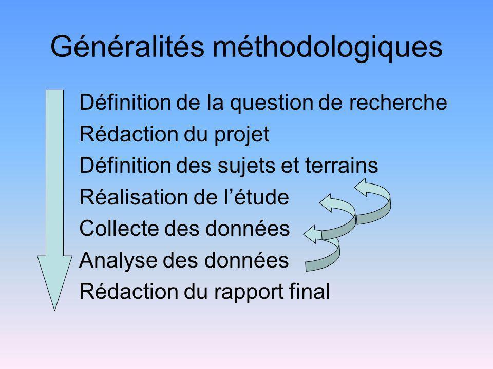 Généralités méthodologiques Définition de la question de recherche Rédaction du projet Définition des sujets et terrains Réalisation de létude Collect