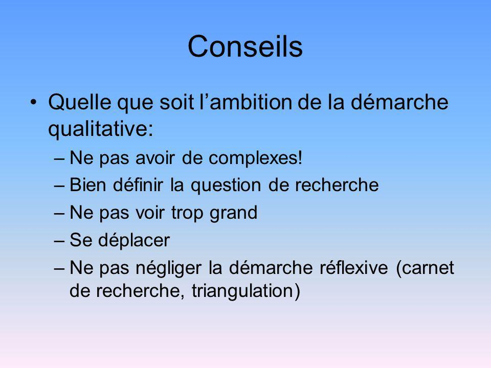 Conseils Quelle que soit lambition de la démarche qualitative: –Ne pas avoir de complexes! –Bien définir la question de recherche –Ne pas voir trop gr