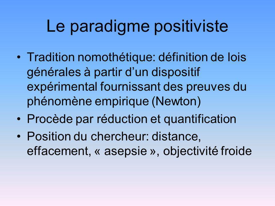 Le paradigme positiviste Tradition nomothétique: définition de lois générales à partir dun dispositif expérimental fournissant des preuves du phénomèn