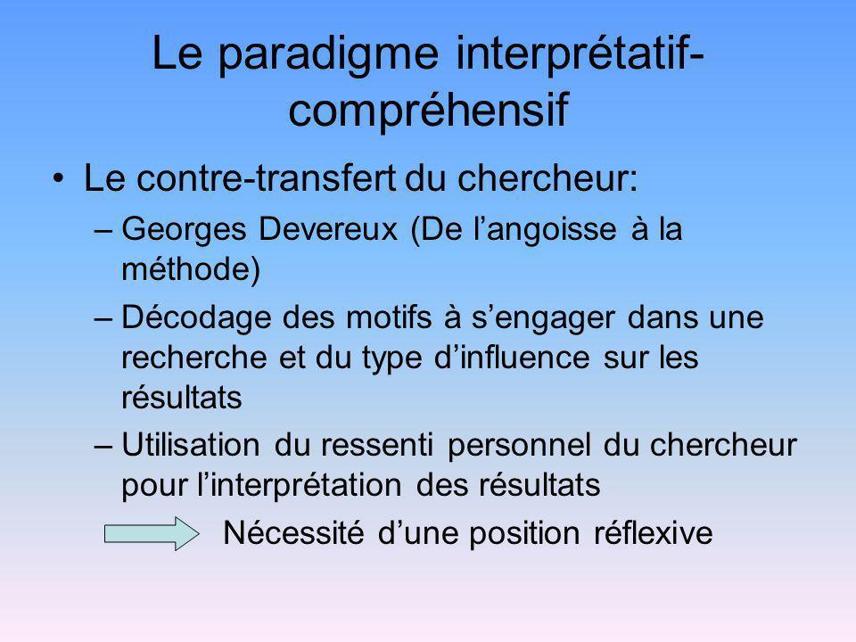 Le paradigme interprétatif- compréhensif Le contre-transfert du chercheur: –Georges Devereux (De langoisse à la méthode) –Décodage des motifs à sengag