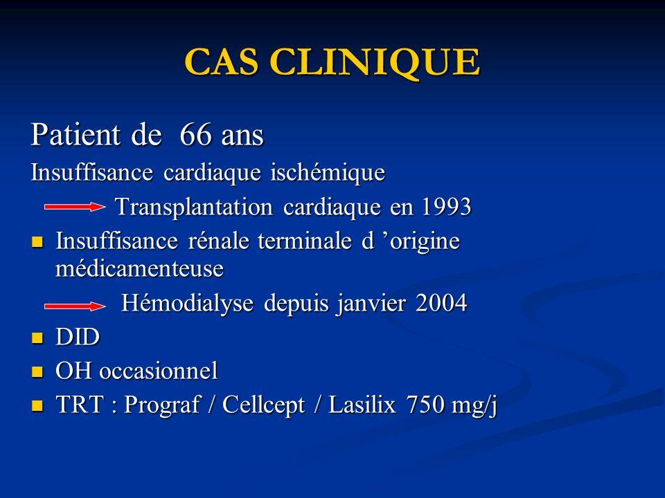 CAS CLINIQUE Patient de 66 ans Insuffisance cardiaque ischémique Transplantation cardiaque en 1993 Transplantation cardiaque en 1993 Insuffisance rénale terminale d origine médicamenteuse Insuffisance rénale terminale d origine médicamenteuse Hémodialyse depuis janvier 2004 Hémodialyse depuis janvier 2004 DID DID OH occasionnel OH occasionnel TRT : Prograf / Cellcept / Lasilix 750 mg/j TRT : Prograf / Cellcept / Lasilix 750 mg/j
