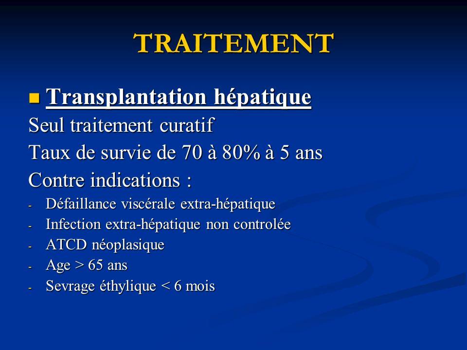 TRAITEMENT Transplantation hépatique Transplantation hépatique Seul traitement curatif Taux de survie de 70 à 80% à 5 ans Contre indications : - Défaillance viscérale extra-hépatique - Infection extra-hépatique non controlée - ATCD néoplasique - Age > 65 ans - Sevrage éthylique < 6 mois