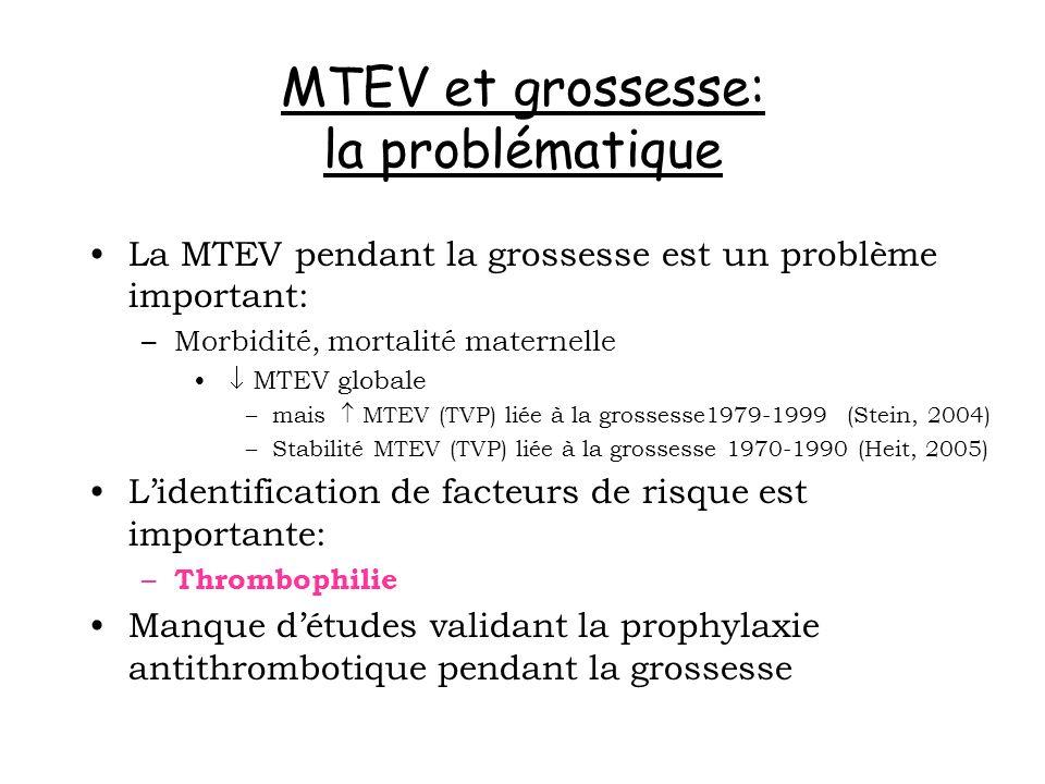 MTEV et grossesse: la problématique La MTEV pendant la grossesse est un problème important: –Morbidité, mortalité maternelle MTEV globale –mais MTEV (
