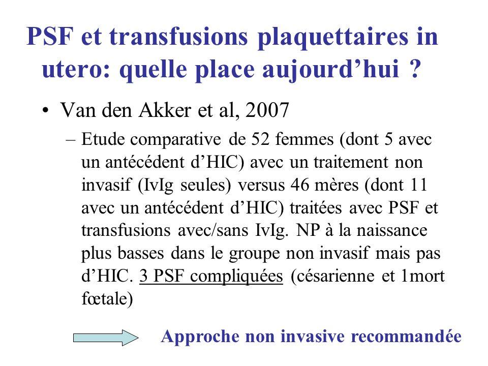PSF et transfusions plaquettaires in utero: quelle place aujourdhui ? Van den Akker et al, 2007 –Etude comparative de 52 femmes (dont 5 avec un antécé