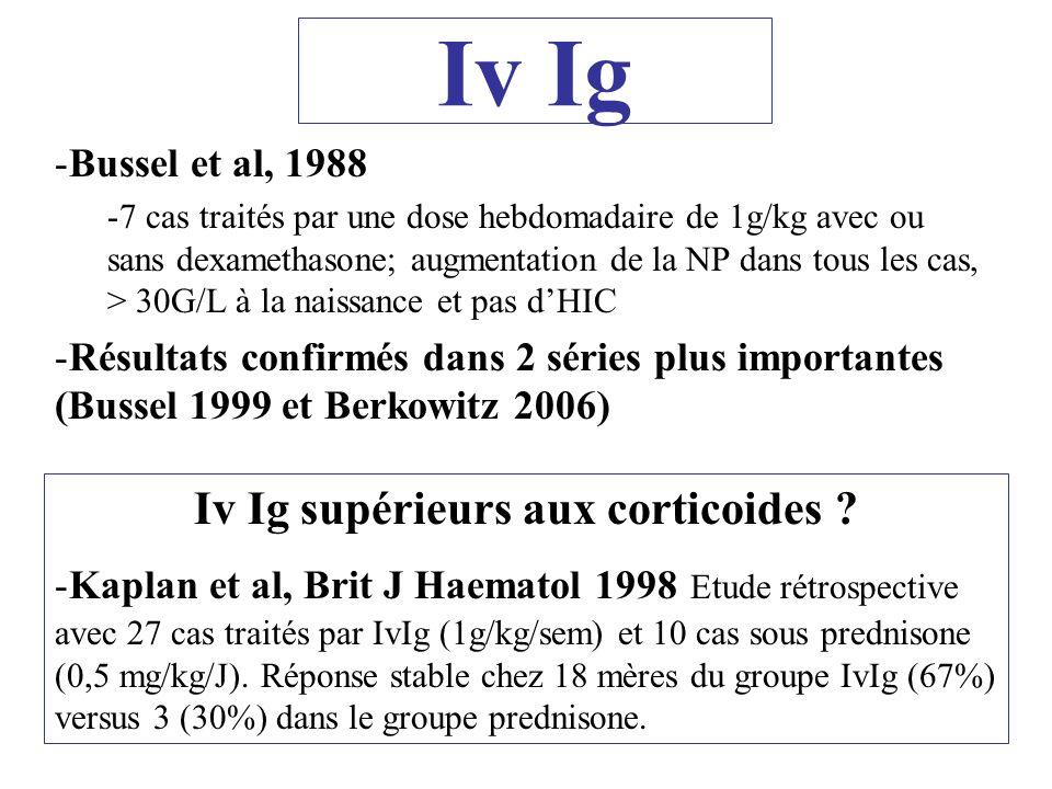 Iv Ig -Bussel et al, 1988 -7 cas traités par une dose hebdomadaire de 1g/kg avec ou sans dexamethasone; augmentation de la NP dans tous les cas, > 30G