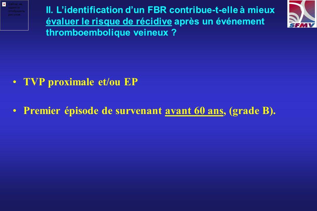 TVP proximale et/ou EP Premier épisode de survenant avant 60 ans, (grade B). II. Lidentification dun FBR contribue-t-elle à mieux évaluer le risque de