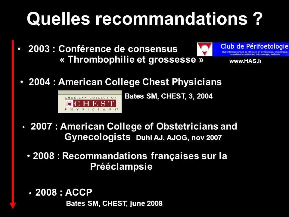 Quelles recommandations ? 2003 : Conférence de consensus « Thrombophilie et grossesse » 2004 : American College Chest Physicians Bates SM, CHEST, 3, 2