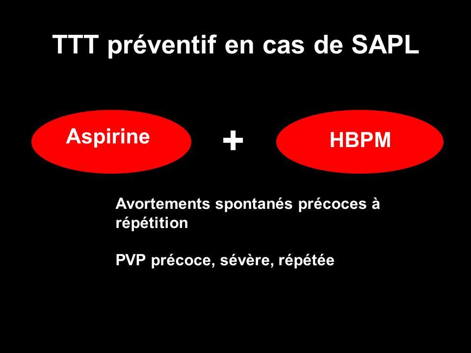 TTT préventif en cas de SAPL Aspirine HBPM + Avortements spontanés précoces à répétition PVP précoce, sévère, répétée
