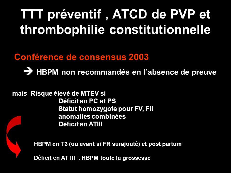 Conférence de consensus 2003 HBPM non recommandée en labsence de preuve TTT préventif, ATCD de PVP et thrombophilie constitutionnelle mais Risque élev