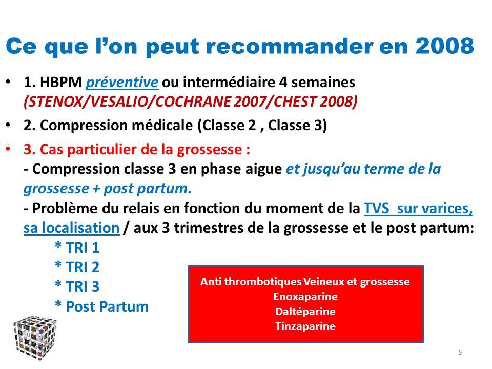 Ce que lon peut recommander en 2008 1. HBPM préventive ou intermédiaire 4 semaines (STENOX/VESALIO/COCHRANE 2007/CHEST 2008) 2. Compression médicale (