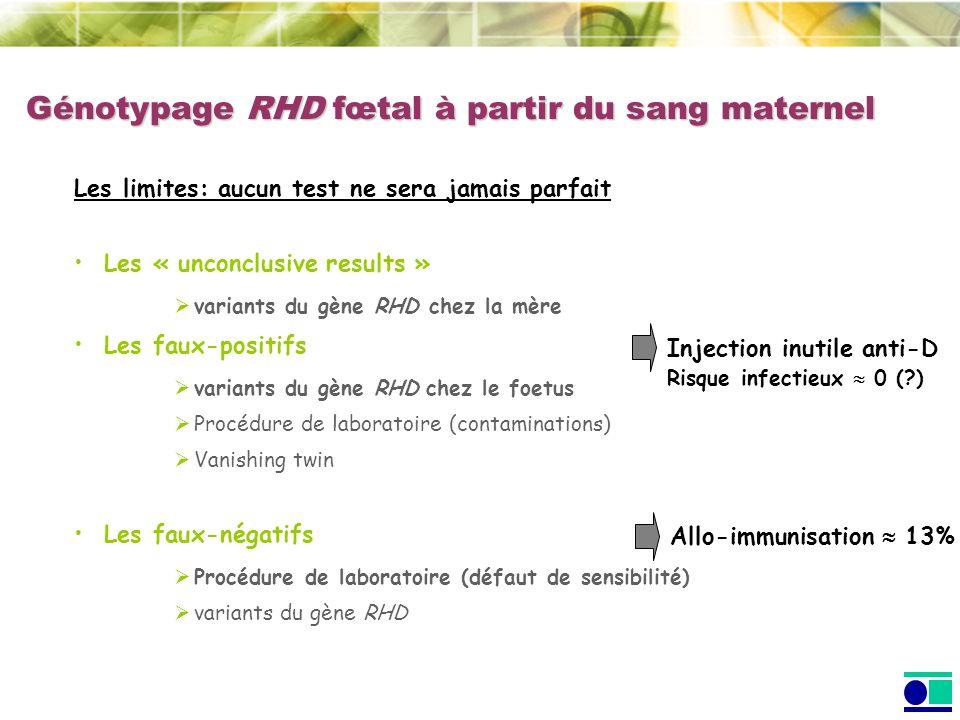 Génotypage RHD fœtal à partir du sang maternel Les limites: aucun test ne sera jamais parfait Les « unconclusive results » variants du gène RHD chez l
