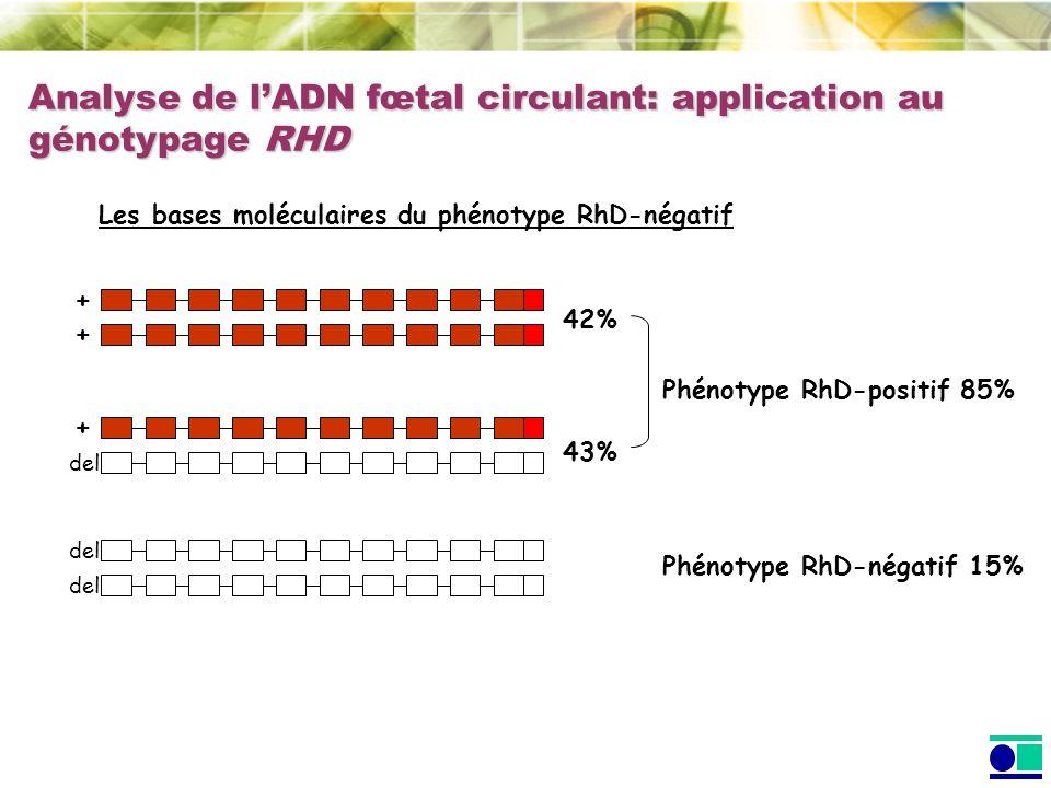 Analyse de lADN fœtal circulant: application au génotypage RHD Les bases moléculaires du phénotype RhD-négatif Phénotype RhD-positif 85% Phénotype RhD-négatif 15% + + del + 43% 42%