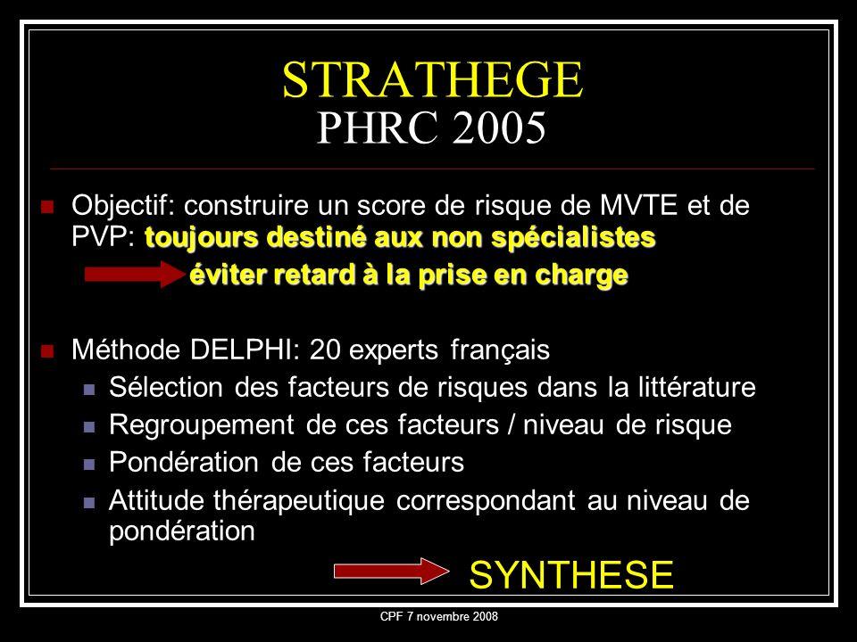 CPF 7 novembre 2008 STRATHEGE PHRC 2005 toujours destiné aux non spécialistes Objectif: construire un score de risque de MVTE et de PVP: toujours dest
