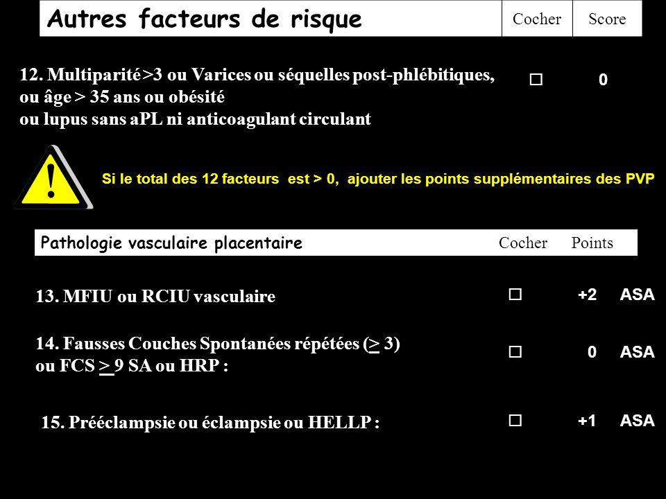 Autres facteurs de risque CocherScore 12. Multiparité >3 ou Varices ou séquelles post-phlébitiques, ou âge > 35 ans ou obésité ou lupus sans aPL ni an