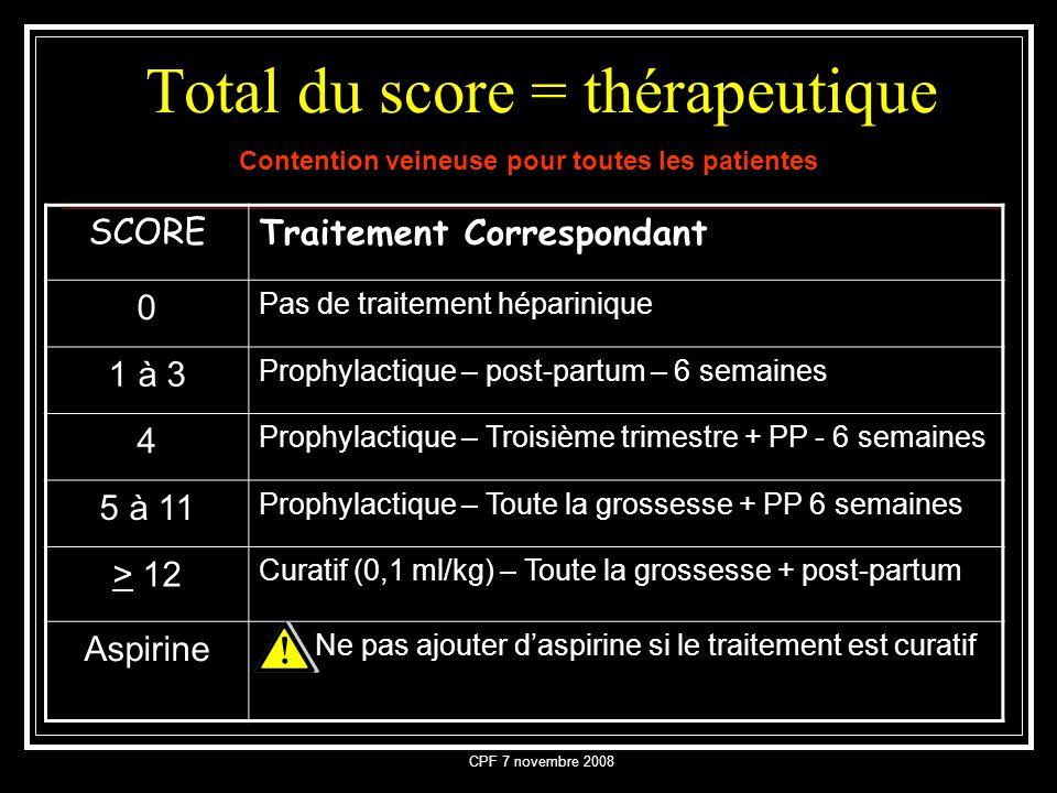 CPF 7 novembre 2008 Total du score = thérapeutique Contention veineuse pour toutes les patientes SCORETraitement Correspondant 0 Pas de traitement hép