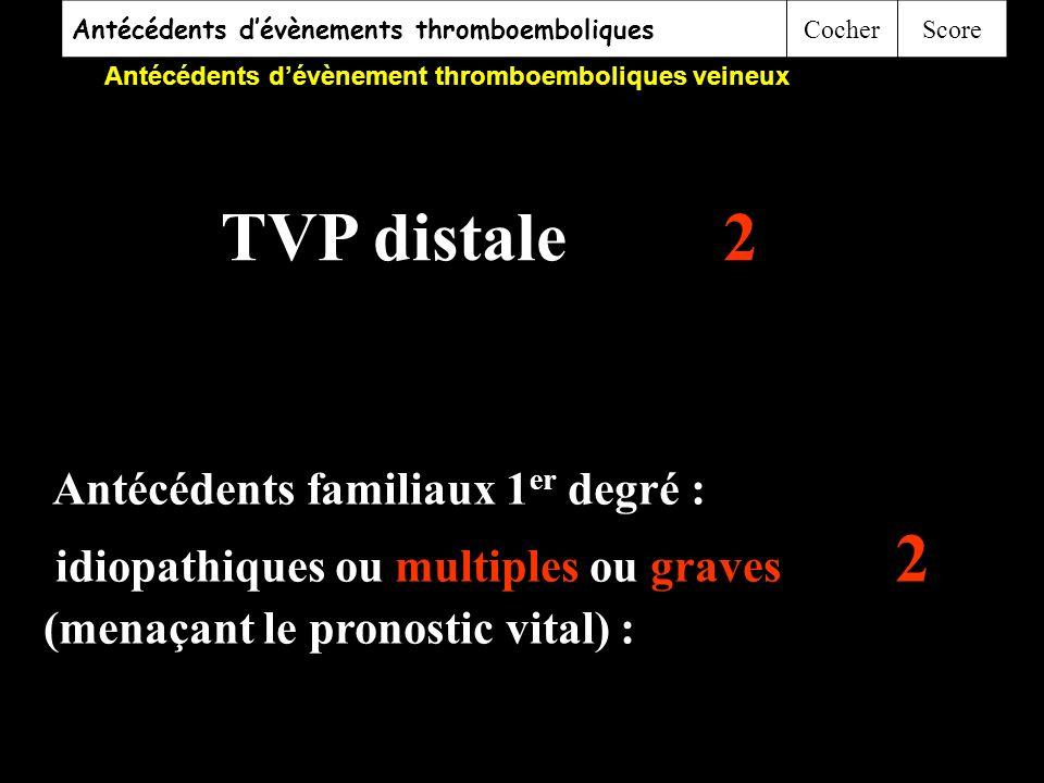 Antécédents dévènements thromboemboliques CocherScore Antécédents dévènement thromboemboliques veineux 1.Antécédents thromboemboliques personnels mult