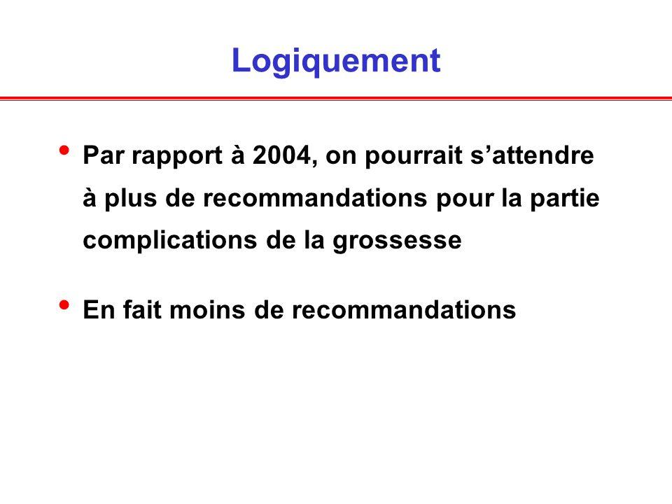 Logiquement Par rapport à 2004, on pourrait sattendre à plus de recommandations pour la partie complications de la grossesse En fait moins de recommandations