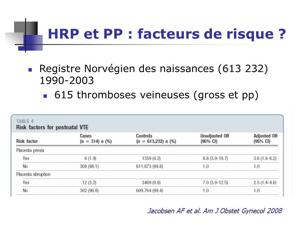 HRP et PP : facteurs de risque .