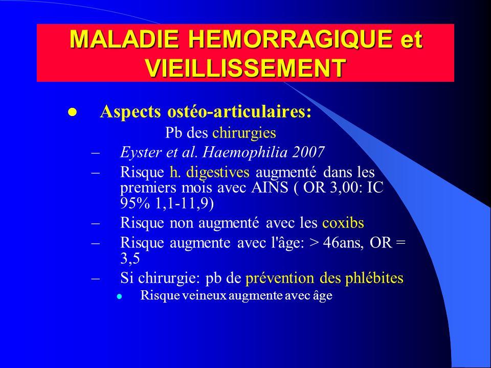l Aspects ostéo-articulaires: Pb des chirurgies –Eyster et al. Haemophilia 2007 –Risque h. digestives augmenté dans les premiers mois avec AINS ( OR 3