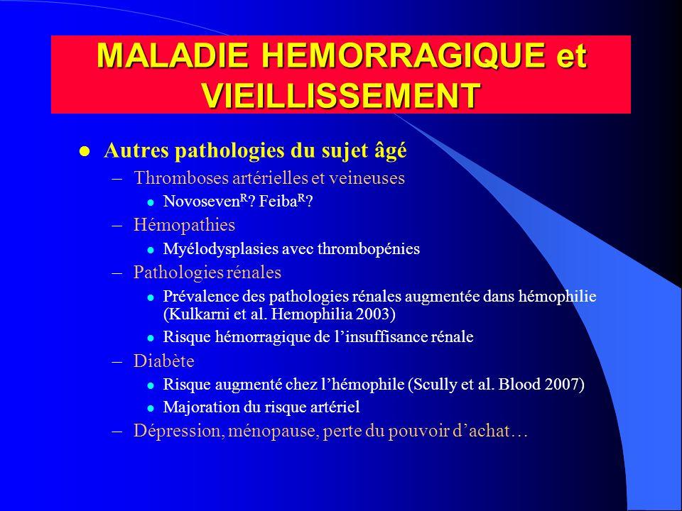 l Autres pathologies du sujet âgé –Thromboses artérielles et veineuses l Novoseven R ? Feiba R ? –Hémopathies l Myélodysplasies avec thrombopénies –Pa