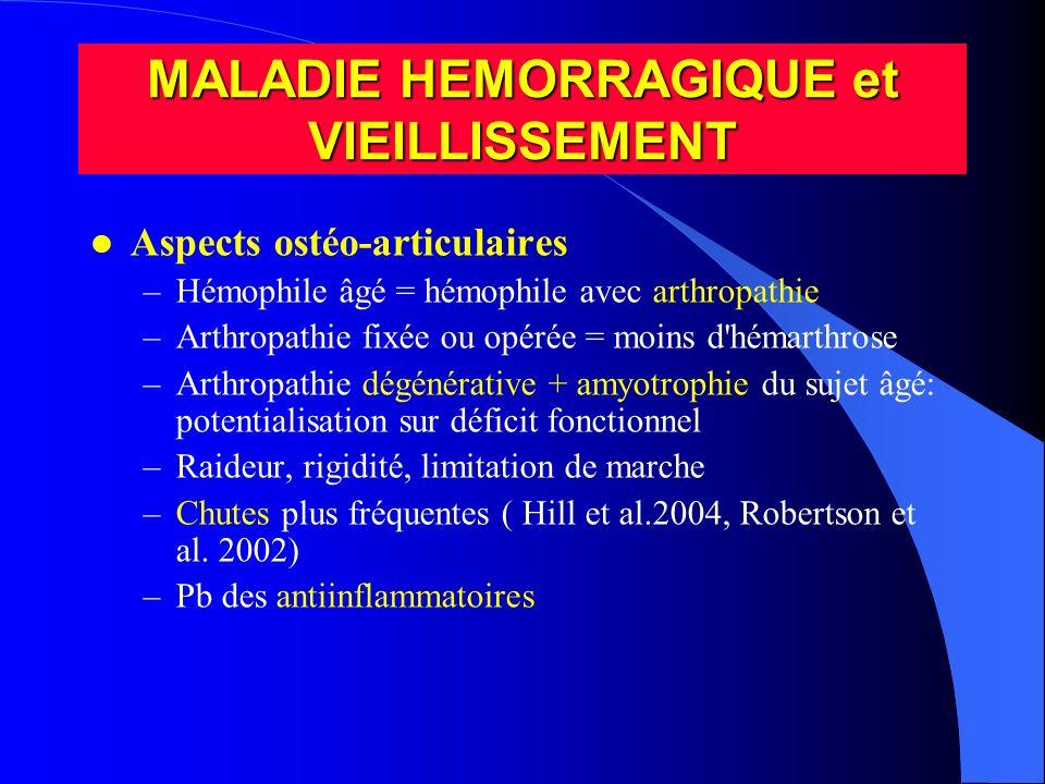 l Aspects ostéo-articulaires –Hémophile âgé = hémophile avec arthropathie –Arthropathie fixée ou opérée = moins d'hémarthrose –Arthropathie dégénérati