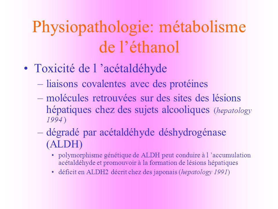 Physiopathologie: métabolisme de léthanol voie non oxydative induit la formation dacides d éthyl éthers ( FAEE ) toxicité de ces FAEE peu connue et peu étudiée