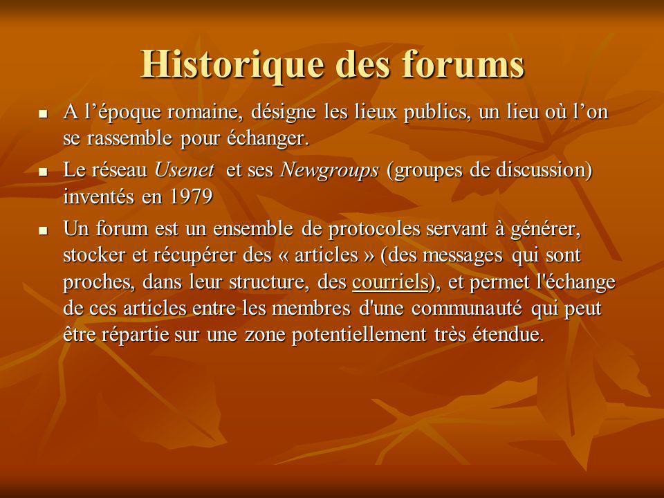 Historique des forums A lépoque romaine, désigne les lieux publics, un lieu où lon se rassemble pour échanger. A lépoque romaine, désigne les lieux pu