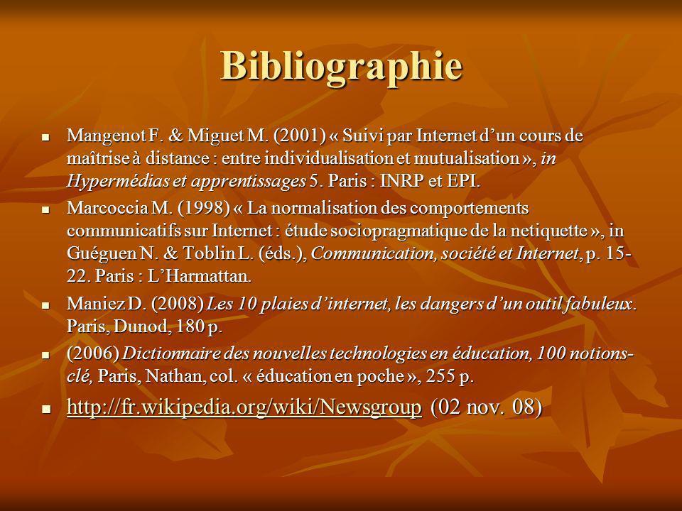 Bibliographie Mangenot F. & Miguet M. (2001) « Suivi par Internet dun cours de maîtrise à distance : entre individualisation et mutualisation », in Hy