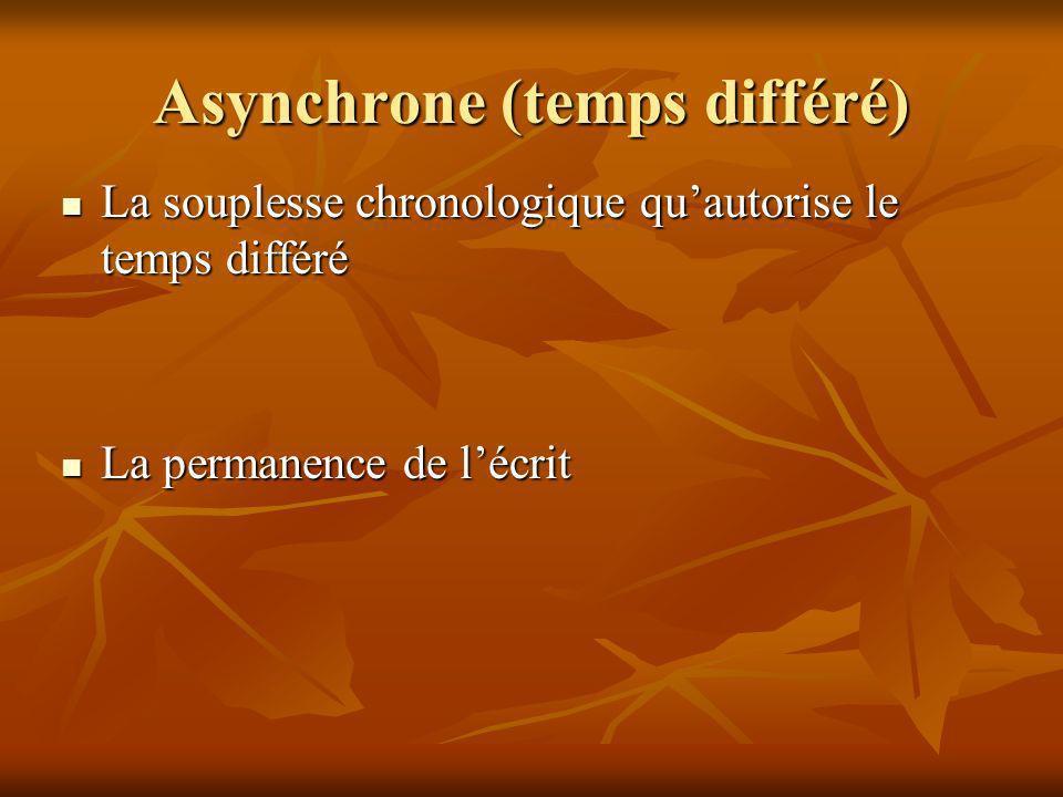 Asynchrone (temps différé) La souplesse chronologique quautorise le temps différé La souplesse chronologique quautorise le temps différé La permanence