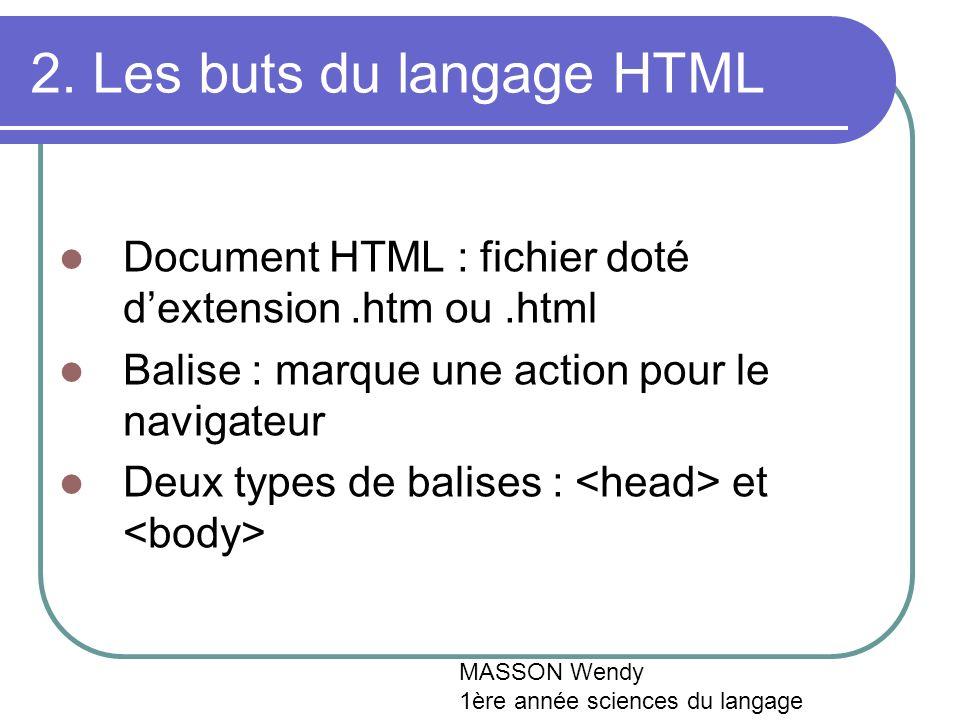 2. Les buts du langage HTML Document HTML : fichier doté dextension.htm ou.html Balise : marque une action pour le navigateur Deux types de balises :