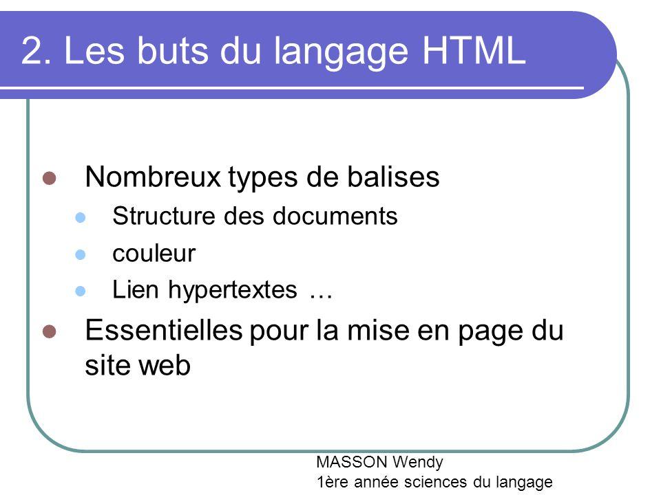 2. Les buts du langage HTML Nombreux types de balises Structure des documents couleur Lien hypertextes … Essentielles pour la mise en page du site web