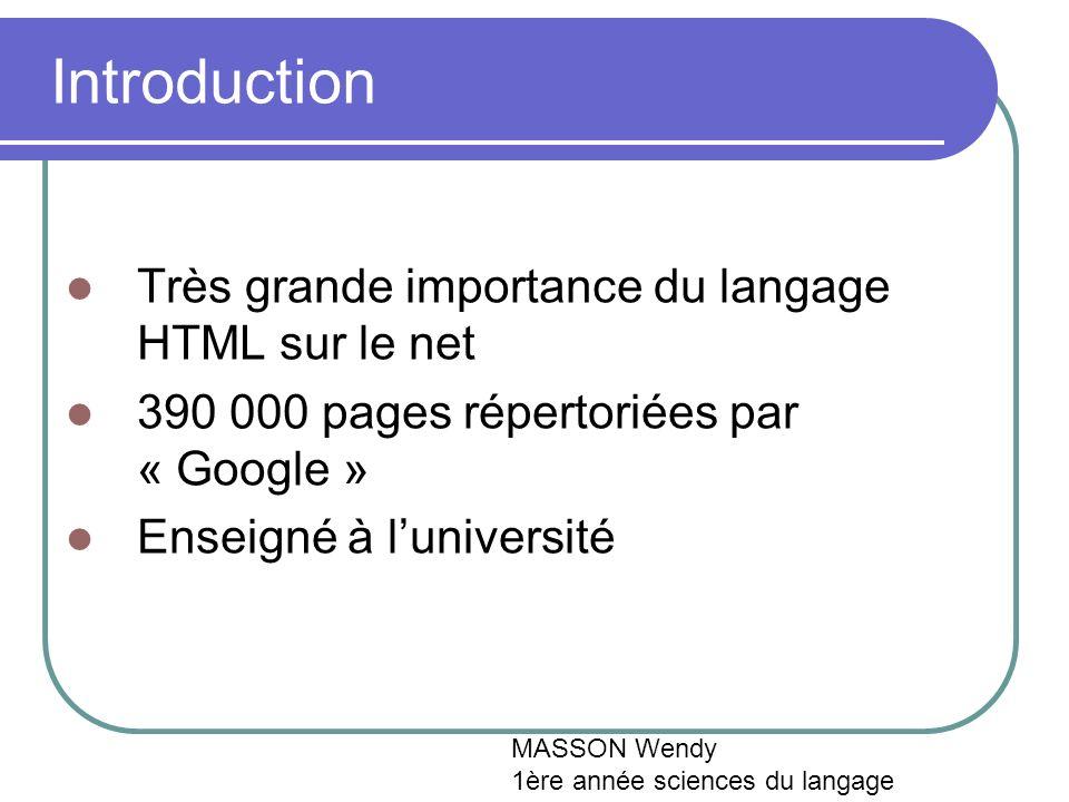 Introduction Très grande importance du langage HTML sur le net 390 000 pages répertoriées par « Google » Enseigné à luniversité MASSON Wendy 1ère année sciences du langage