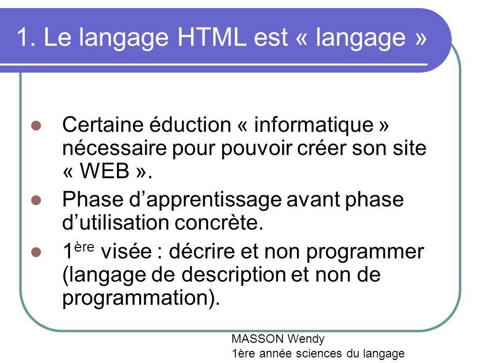 1. Le langage HTML est « langage » Certaine éduction « informatique » nécessaire pour pouvoir créer son site « WEB ». Phase dapprentissage avant phase