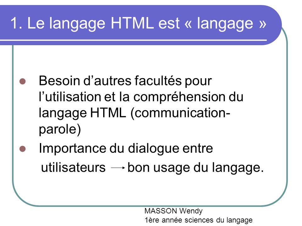 1. Le langage HTML est « langage » Besoin dautres facultés pour lutilisation et la compréhension du langage HTML (communication- parole) Importance du