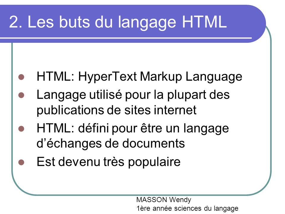 2. Les buts du langage HTML HTML: HyperText Markup Language Langage utilisé pour la plupart des publications de sites internet HTML: défini pour être