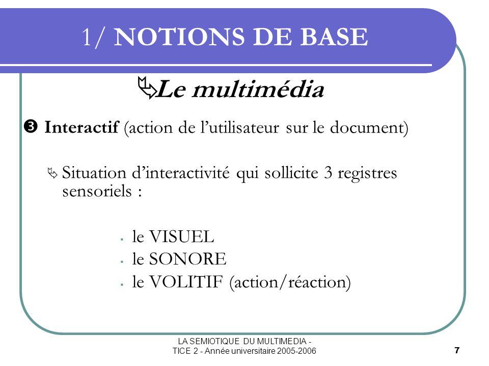 LA SEMIOTIQUE DU MULTIMEDIA - TICE 2 - Année universitaire 2005-20068 1/ NOTIONS DE BASE La sémiotique Terme apparu en 1890 avec J.