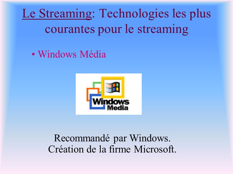 Le Streaming: Technologies les plus courantes pour le streaming Windows Média Recommandé par Windows. Création de la firme Microsoft.