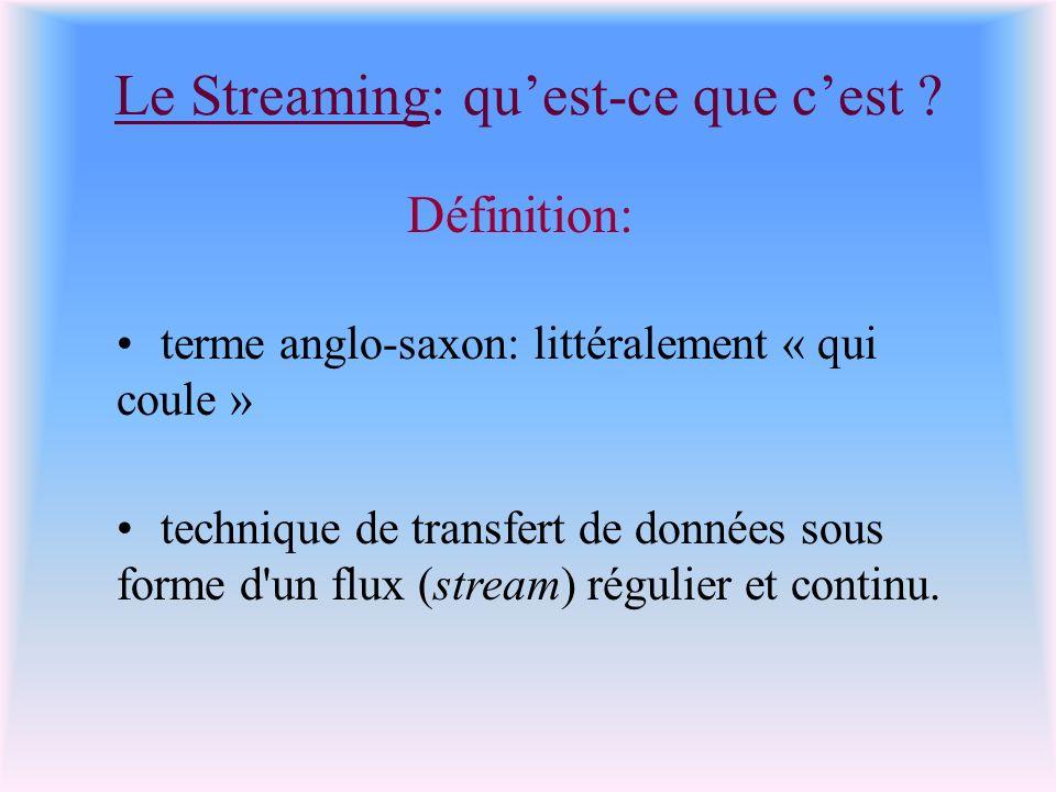 Le Streaming: quest-ce que cest ? Définition: terme anglo-saxon: littéralement « qui coule » technique de transfert de données sous forme d'un flux (s
