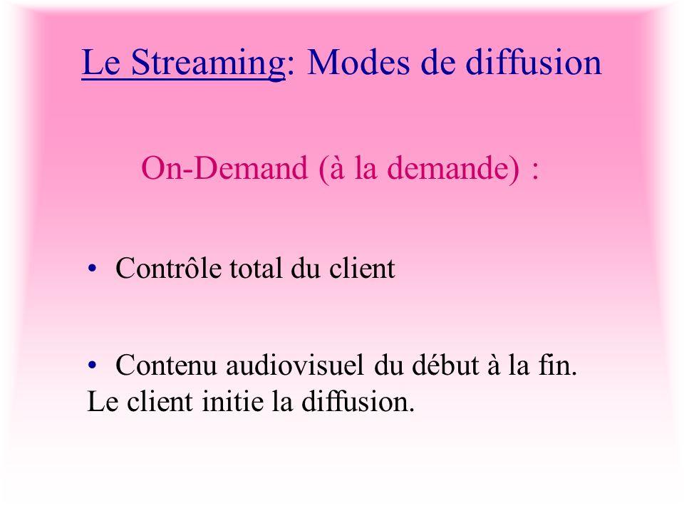 Le Streaming: Modes de diffusion On-Demand (à la demande) : Contrôle total du client Contenu audiovisuel du début à la fin. Le client initie la diffus