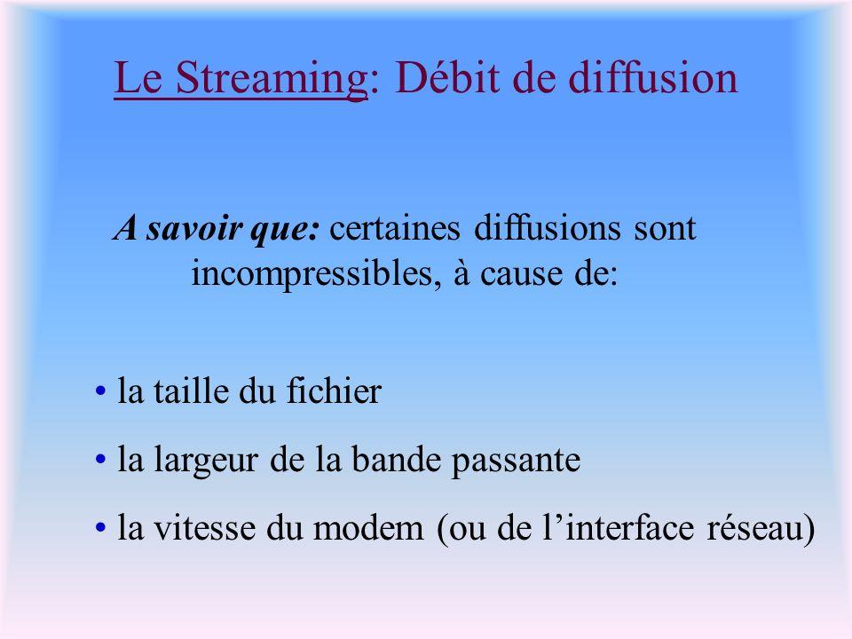 Le Streaming: Débit de diffusion A savoir que: certaines diffusions sont incompressibles, à cause de: la taille du fichier la largeur de la bande passante la vitesse du modem (ou de linterface réseau)