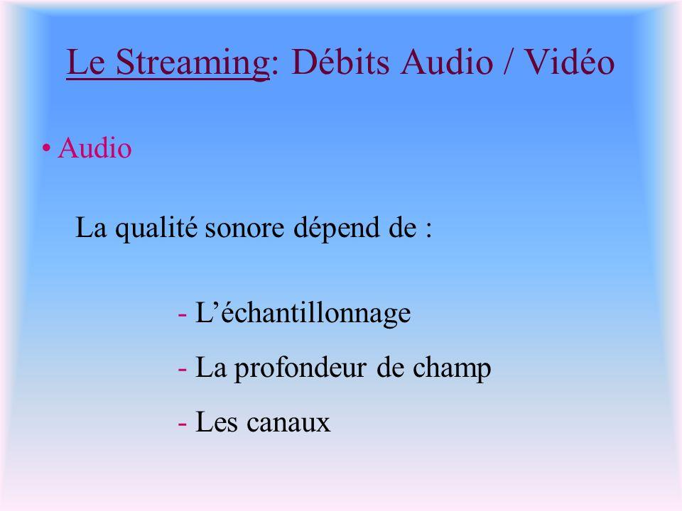 Le Streaming: Débits Audio / Vidéo Audio La qualité sonore dépend de : - Léchantillonnage - La profondeur de champ - Les canaux