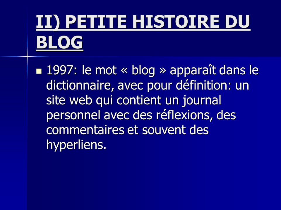II) PETITE HISTOIRE DU BLOG 1997: le mot « blog » apparaît dans le dictionnaire, avec pour définition: un site web qui contient un journal personnel avec des réflexions, des commentaires et souvent des hyperliens.