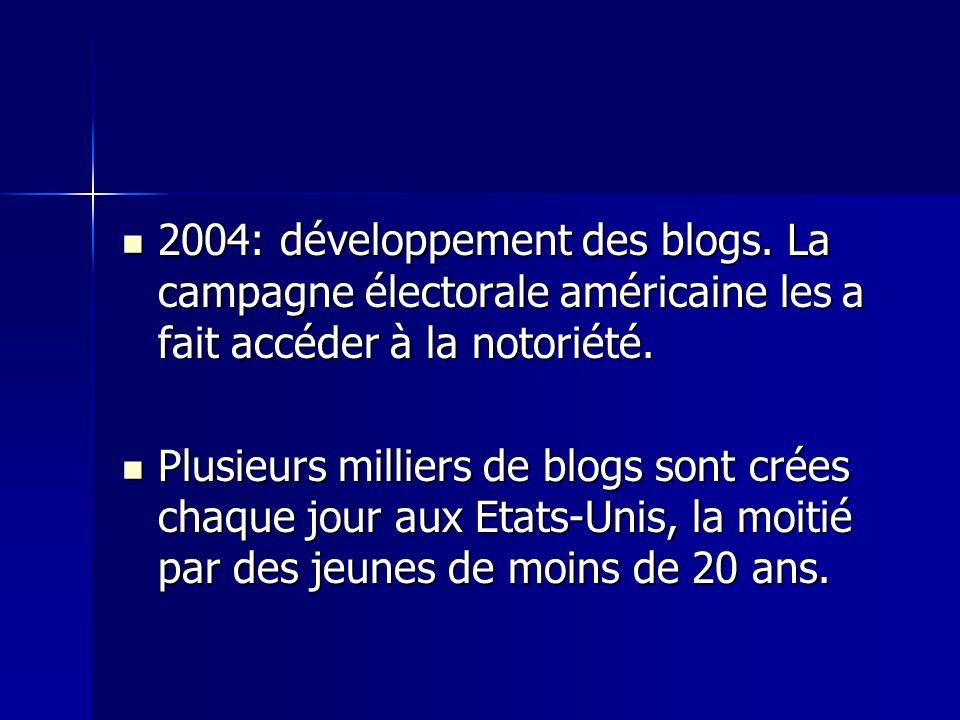 2004: développement des blogs. La campagne électorale américaine les a fait accéder à la notoriété.
