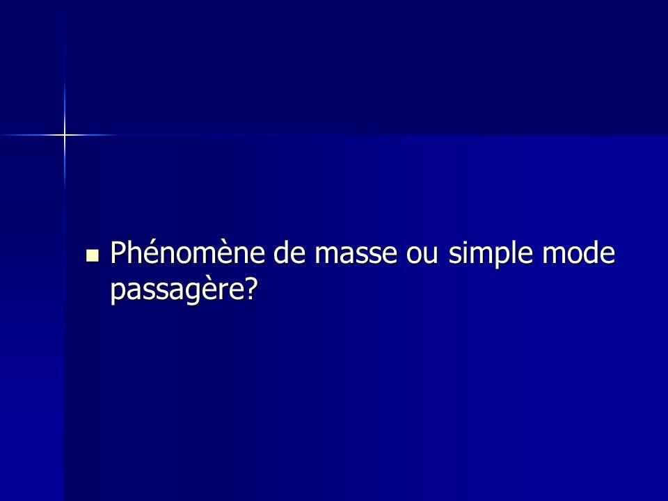 Phénomène de masse ou simple mode passagère? Phénomène de masse ou simple mode passagère?
